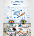ecommerce infograph brochure template with hand vector image vector image
