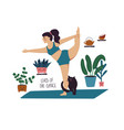 girl doing lord dance yoga pose with cat vector image vector image