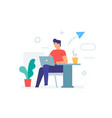 guy is sitting with a laptop in a cafe icon vector image vector image