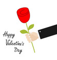 happy valentines day businessman hand holding red vector image vector image