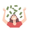 happy young woman throwing her money up in air vector image
