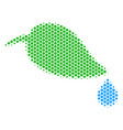 hexagon halftone natural leaf with drop icon vector image