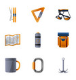 hiking tools icon set cartoon style vector image vector image
