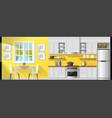 interior background with dining room and kitchen vector image vector image