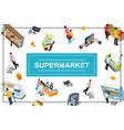 isometric supermarket colorful concept vector image vector image