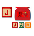 j is for jam vector image