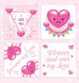 kawaii cute love badge card pack vector image vector image