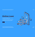 landing page online loan with smartphone vector image