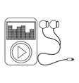 music player with earphones vector image vector image