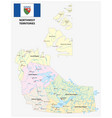 northwest territories map with flag vector image vector image