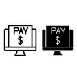 payment on pc line and glyph icon computer vector image vector image