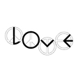 peace sign making the word LOVE vector image vector image