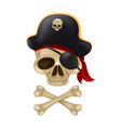 pirate skull with crossbones in captains hat vector image vector image