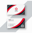 red wavy business card design vector image vector image