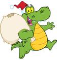 Royalty Free RF Clipart Crocodile Santa Cartoon