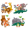 set animal character vector image vector image