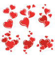 set of red hearts collection of stylized hearts vector image vector image