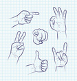 set various hand gestures vector image vector image