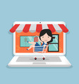 small girl sitting in shopping cart shop online vector image
