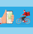 smartphone with app and man riding bicycle vector image vector image