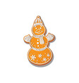 snowman cookie isolated vector image vector image
