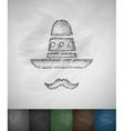 sombrero and mustache icon Hand drawn vector image