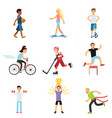 teen boys and girls engaging in different sports vector image