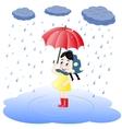 Girl under an umbrella and rain vector image