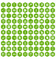 100 database icons hexagon green vector image vector image
