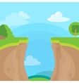 Abyss or cliff concept with trees sky and clouds vector image