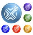 arrow target icons set vector image