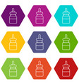 baby bottle icons set 9 vector image