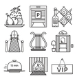 Black line icons for restaurant vector image vector image