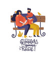 book fans literature lovers couple young people vector image