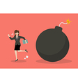 Business woman run away from bomb vector image vector image
