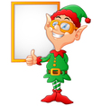 cartoon elf giving a thumbs up vector image vector image