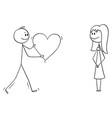 cartoon man or boy in love giving big romantic vector image vector image