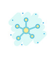 cartoon social network molecule dna icon in comic vector image