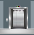 chrome metal office building elevator doors vector image