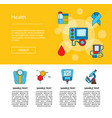 colored diabetes icons web page template vector image vector image