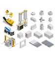 concrete production isometric icons vector image vector image