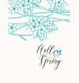contour drawing spring tree with inscription vector image
