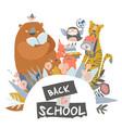 cute animals with school equipment back to school vector image vector image