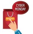 cyber monday shop bag vector image vector image