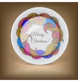 Decorative plate with Christmas wreath vector image