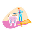 doctor in hospital virus on teeth medical care vector image vector image