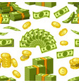 dollars and cents money banknotes and golden cents vector image