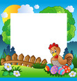 easter frame with hen and eggs vector image