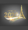 eiffel tower icon with golden confetti 2020 sign vector image vector image