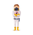 exterminator wearing protection uniform worker vector image